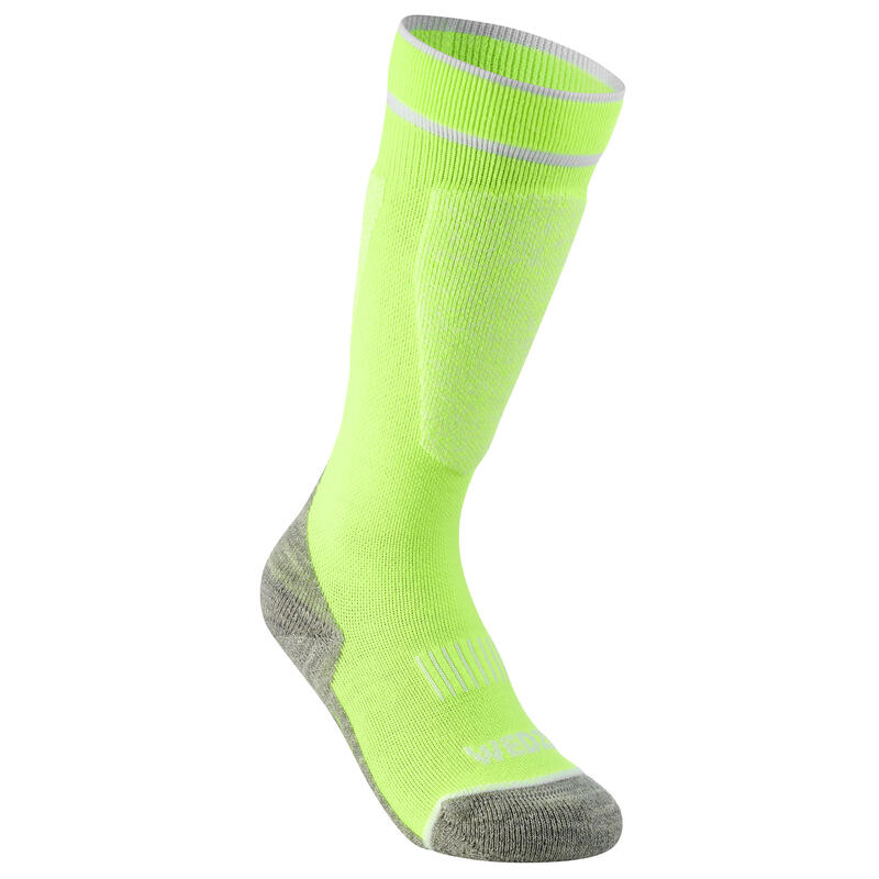 CHILDREN'S SKI SOCKS 100 - YELLOW