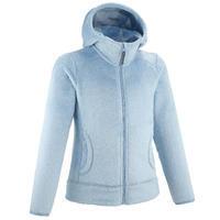 Толстовка флисовая для походов для детей 7–15 лет сине-серая MH100 Warm