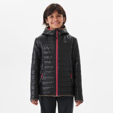 Kids' 7-15 Years Hiking Padded Jacket MH500 - Black