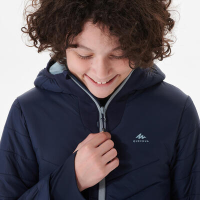 KIDS' PADDED HIKING JACKET - HYBRID - AGED 7-15 - NAVY