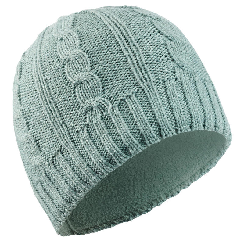 ADULT CABLE-KNIT WOOL SKI HAT GREEN