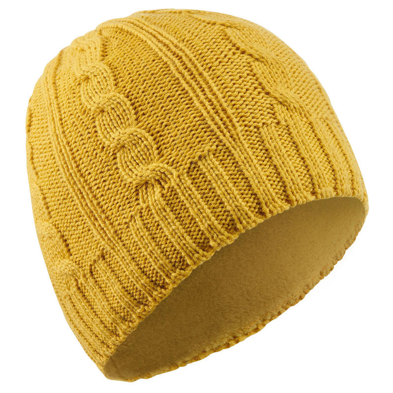 ADULT CABLE-KNIT WOOL SKI HAT OCHRE