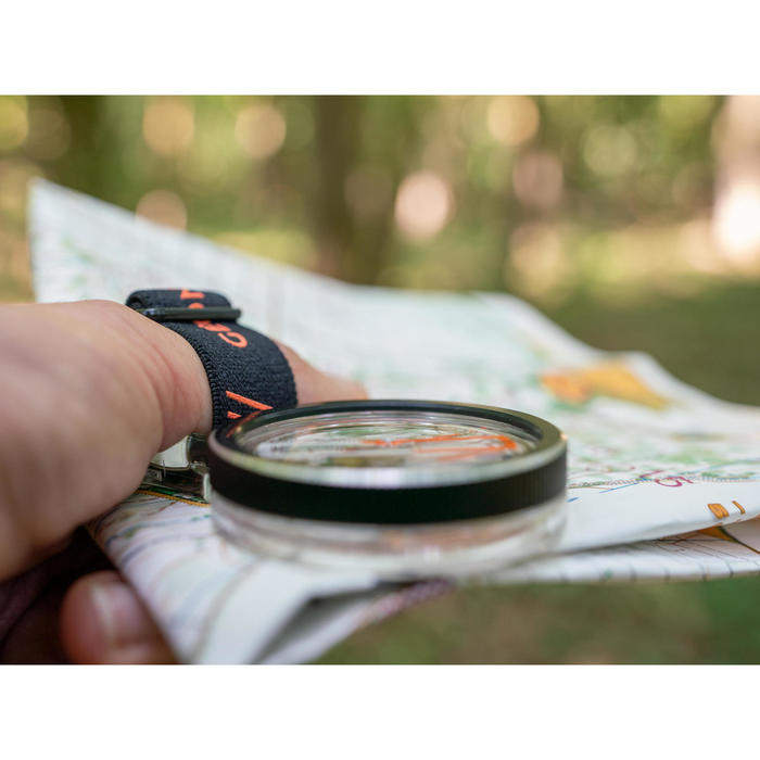 RACER 900 LEFT-THUMB COMPASS FOR ORIENTEERING - BLACK