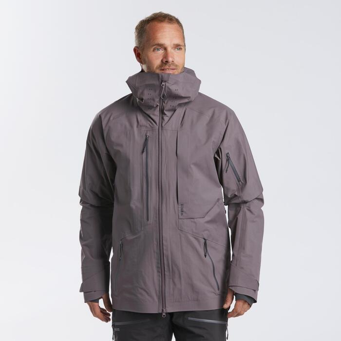 Veste de ski Freeride homme JKT SKI FR900 gris violet
