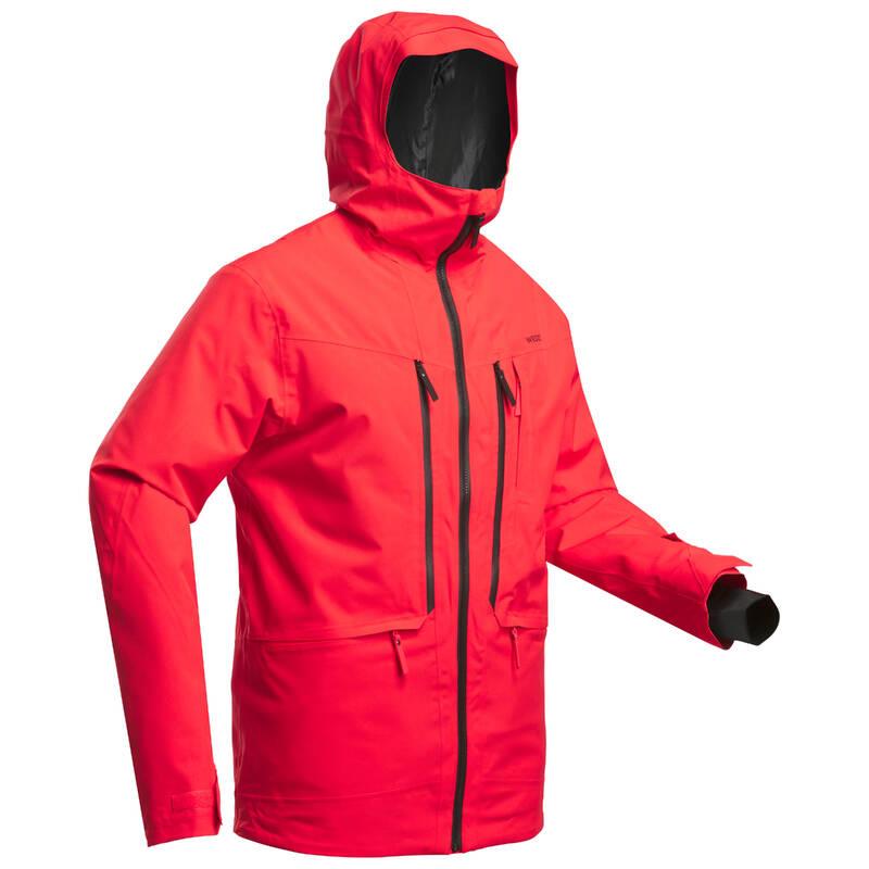 PÁNSKÉ LYŽAŘSKÉ OBLEČENÍ NA FREERIDE Snowboarding - LYŽAŘSKÁ BUNDA FR500 ČERVENÁ  WEDZE - Snowboardové oblečení a doplňky