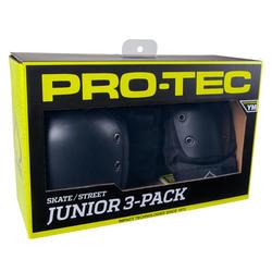 SET 3 PROTECTIONS NOIRES DE SKATEBOARD POUR ENFANT, PRO-TEC
