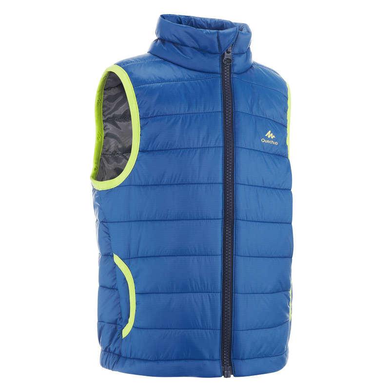 FLEECE PADDED & SOFTHELL JKT BOY 2-6 Y Hiking - K PADDED GILET MH500 - BLUE QUECHUA - Hiking Jackets