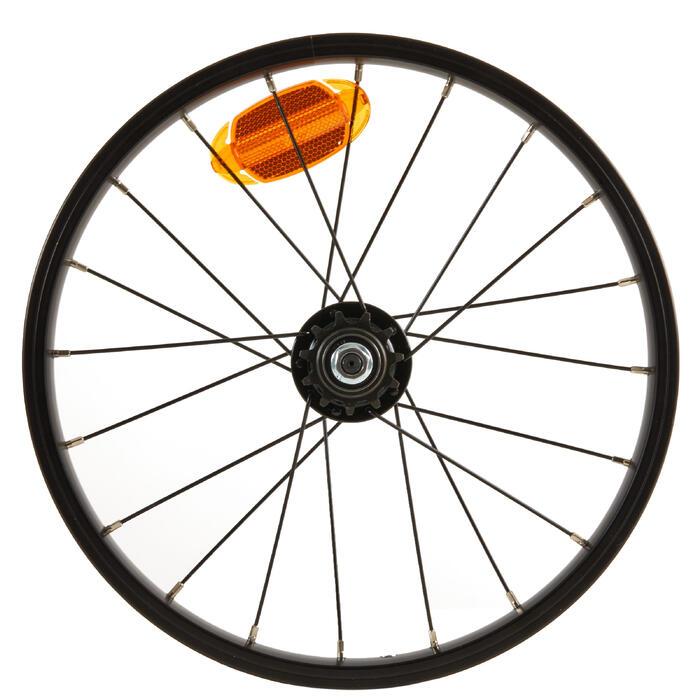 Roue vélo enfant 16 pouces arrière à roue libre intégré 11 dents noir rayon noir