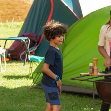school kids camping