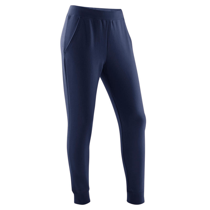 Pantalon de jogging chaud molleton 100 fille GYM ENFANT marine uni