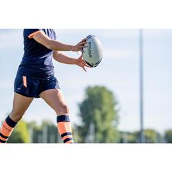 Short de Rugby R500 Femme Bleu Marine Corail