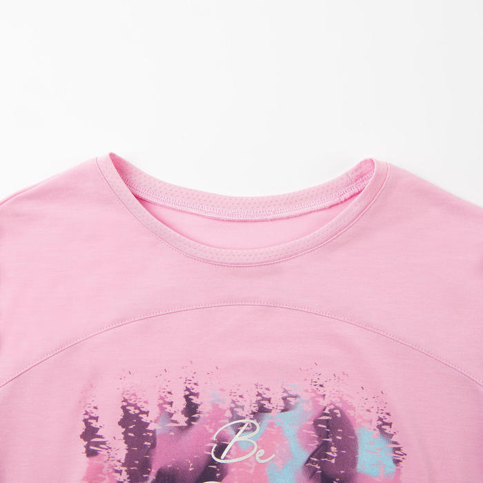 女童健身透氣棉質長袖T恤500 - 粉色印花