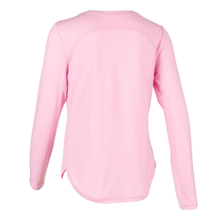 Girls' Gym Breathable Cotton Long-Sleeved T-Shirt 500 - Pink Print