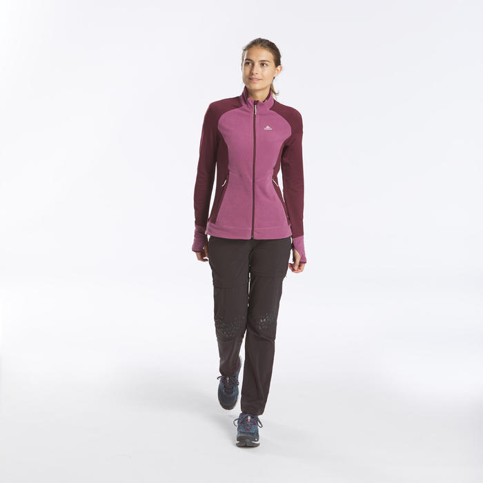 Women's Mountain Walking Fleece Jacket MH520 - Purple