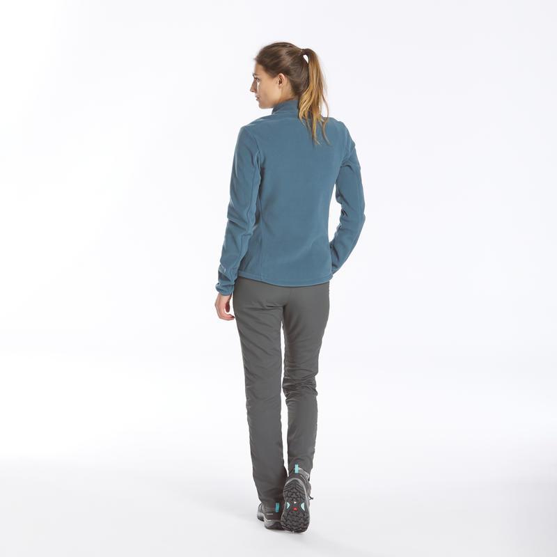เสื้อผ้าฟลีซผู้หญิงสำหรับใส่เดินป่าบนภูเขารุ่น MH100 (สีฟ้า/เทา)