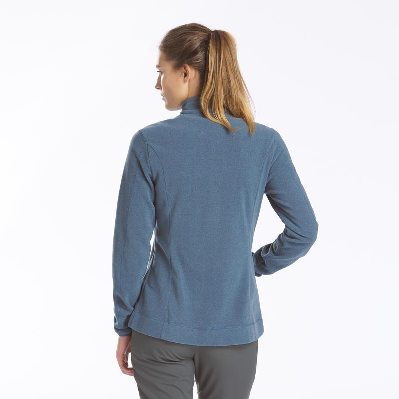 Veste Polaire de randonnée montagne femme MH120 Bleue Grise