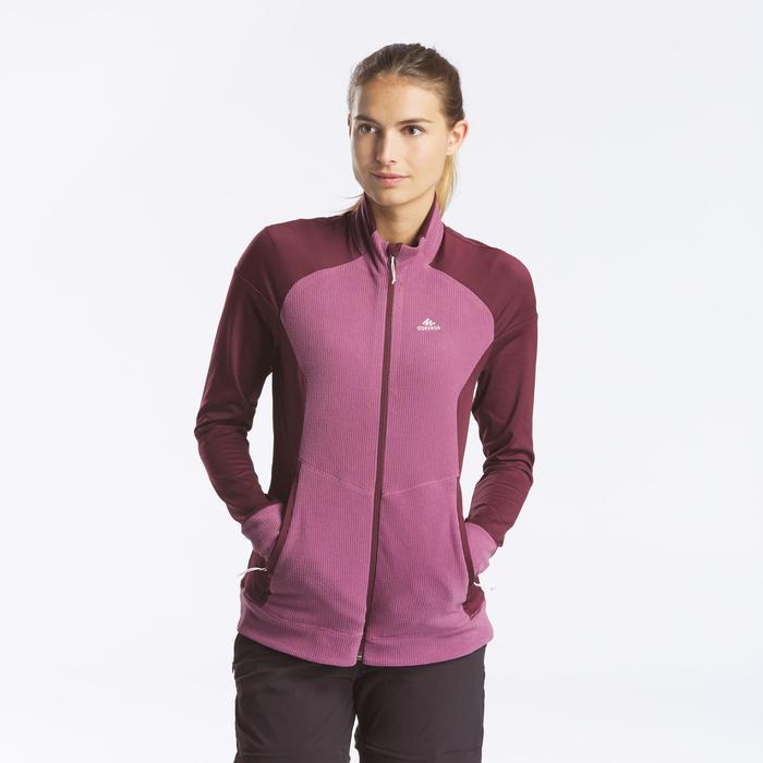 女款登山健行刷毛外套MH520-紫色