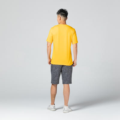 T-Shirt Coton Extensible Fitness Jaune