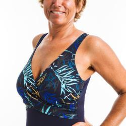 Maillot de bain une pièce femme gainant d'aquagym Lori Yuka bleu