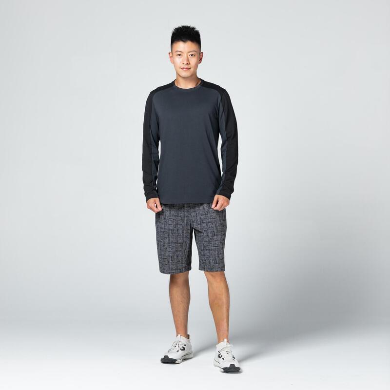Camiseta Manga Larga Hombre Algodón Extensible Gris y Negro