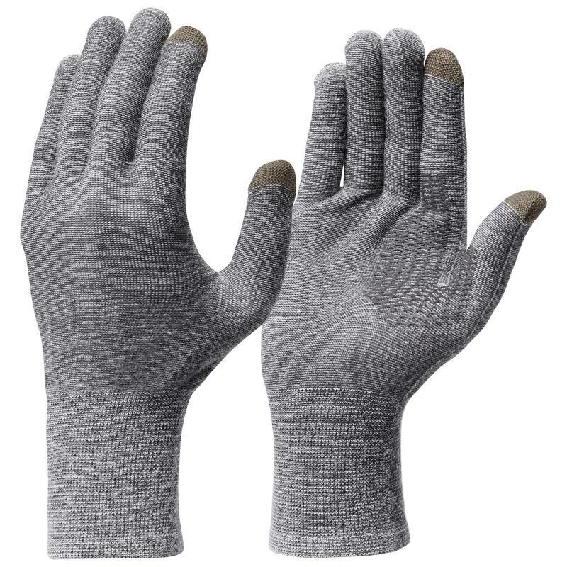 Turistické spodní bezešvé rukavice Trek 500 šedé
