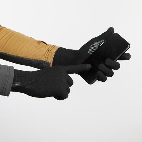 Trek 500 Touchscreen Compatible Mountain Trekking Liner Gloves Black - Unisex