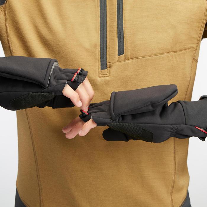 Moufles-mitaines chaudes et coupe-vent de trek montagne -TREK 500 noir - adulte