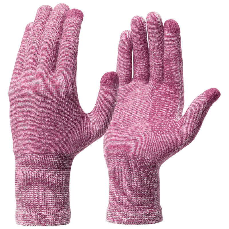 GLOVES, UNDERGLOVES, MITTENS HIKING/TREK Trekking - LINER GLOVES TREK 500 - PURPLE FORCLAZ - Trekking
