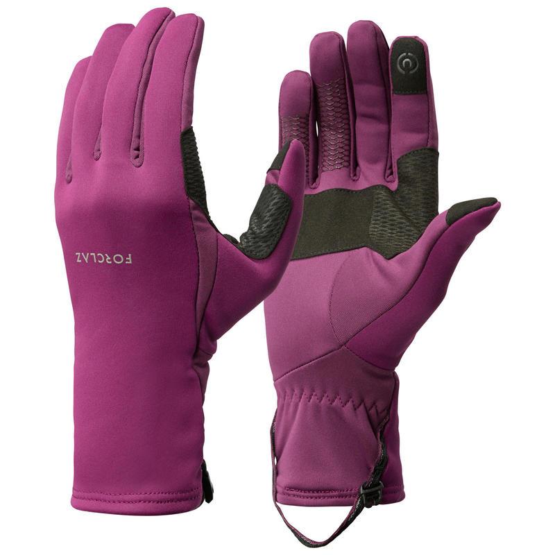 Stretch handschoenen voor bergtrekking volwassenen Trek 500 paars