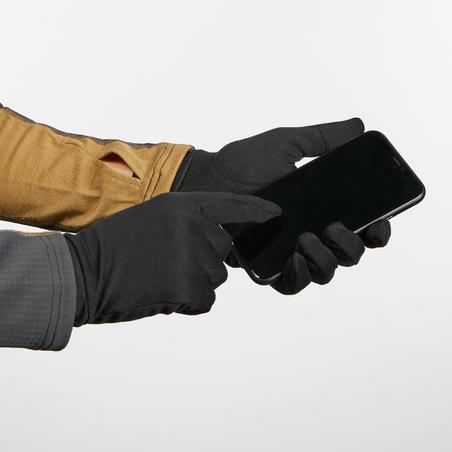 Adult Mountain Trekking 100% Silk Liner Gloves Trek 500 - black