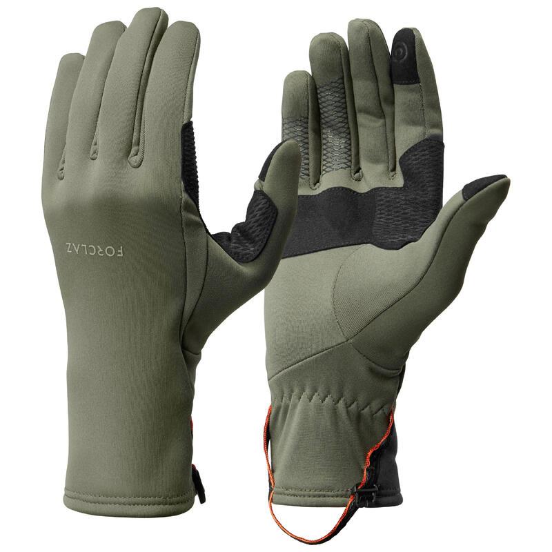 Stretch handschoenen voor bergtrekking volwassenen Trek 500 kaki