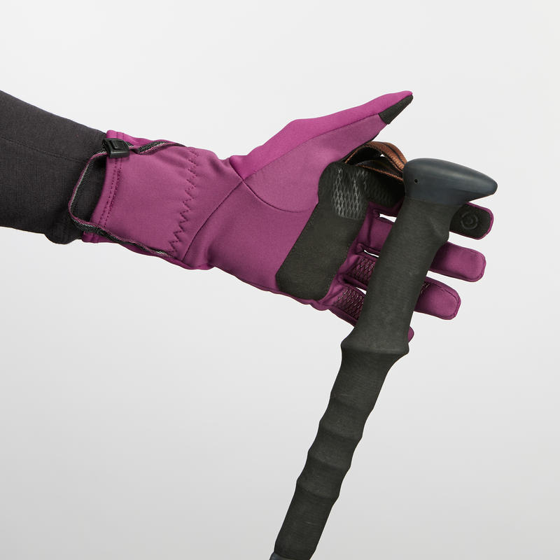 Adult Breathable Mountain Trekking Gloves - TREK 500 - Purple