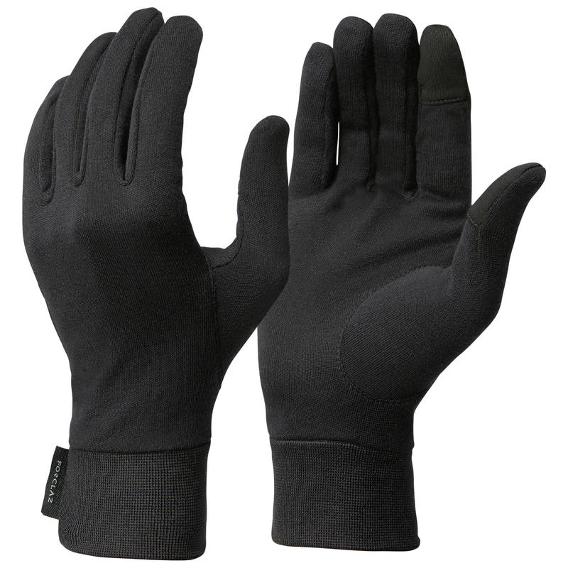Adult Mountain Trekking 100% Silk Liner Gloves Trek 500 - black