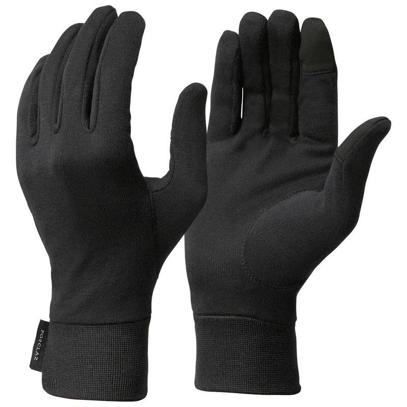 Sous-gants en soie de trekking montagne - TREK 500 noir - adulte