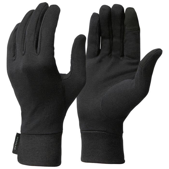 Onderhandschoenen voor bergtrekking volwassenen 100% zijde Trek 500 zwart