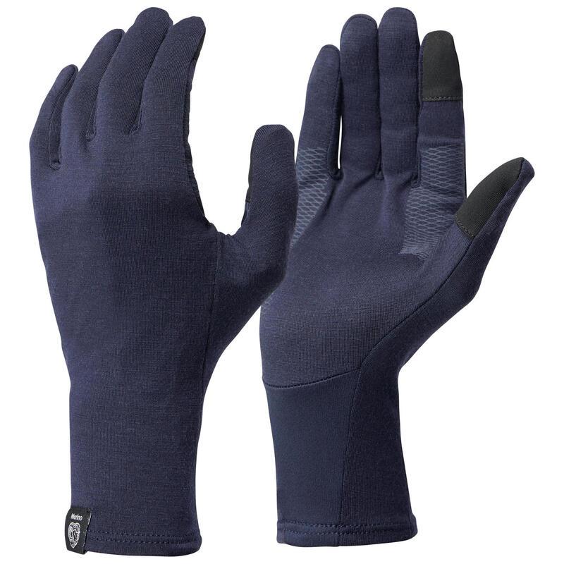 Adult Mountain Trekking Merino Wool Liner Gloves TREK 500 - Navy Blue