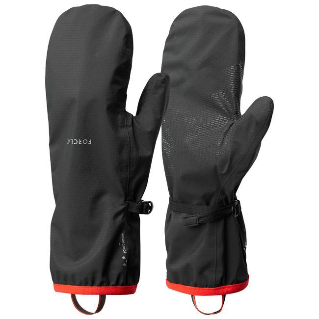 Adult Mountain Trekking Waterproof Over-Gloves Trek 500 - black