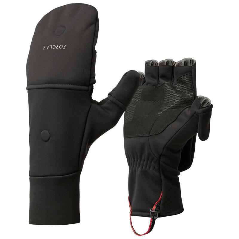 Adult Mountain Trekking Warm and Windproof Glove-Mittens Trek 500 - black