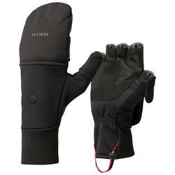 Warme, winddichte wanten voor bergtrekking volwassenen TREK 500 zwart