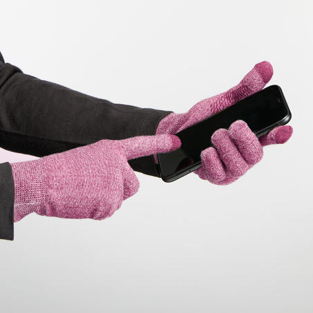 Mountain Trekking Liner Gloves Trek 500 - Purple