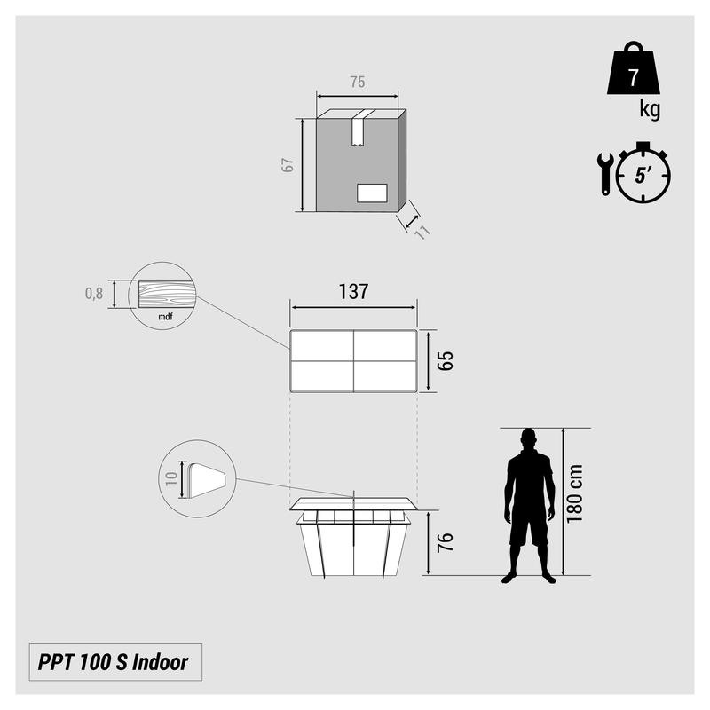 PPT 100 Small Indoor Table Tennis Table