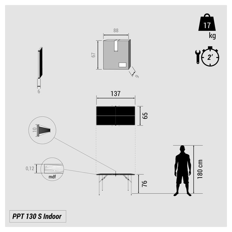 โต๊ะปิงปองในร่มขนาดเล็กรุ่น PPT 130