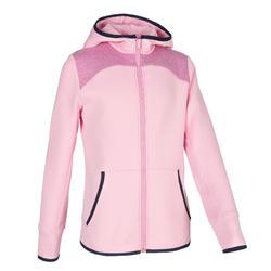 女童保暖透氣棉質健身連帽衫500 - 粉色