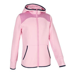 Girls' Warm Breathable Cotton Gym Hoodie 500 - Pink