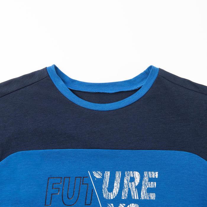 男童透氣棉質長袖健身T恤500 - 藍色/印花