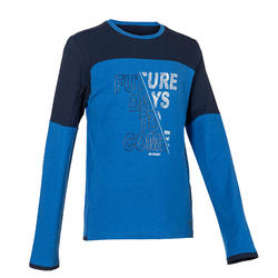 Boys' Breathable Cotton Long-Sleeved Gym T-Shirt 500 - Blue/Print