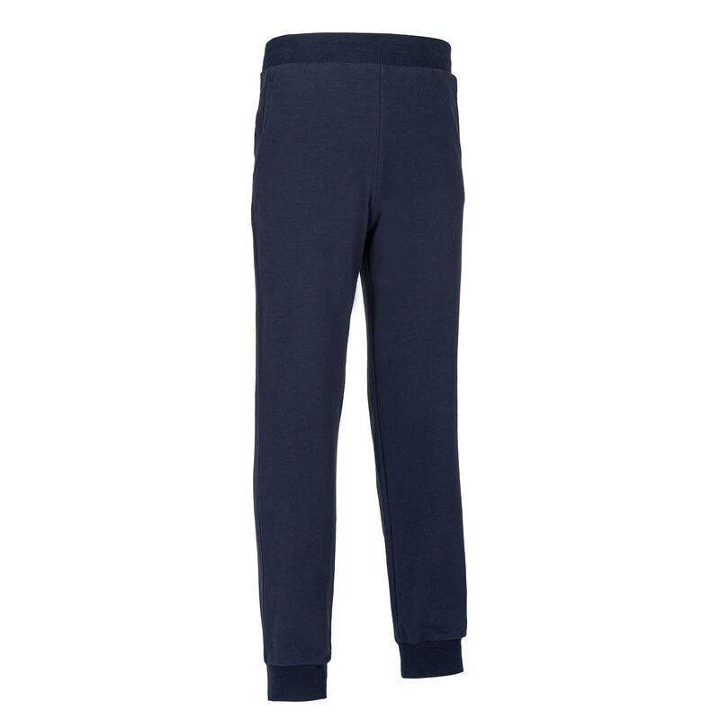男童健身保暖毛圈布長褲100 - 軍藍色/印花