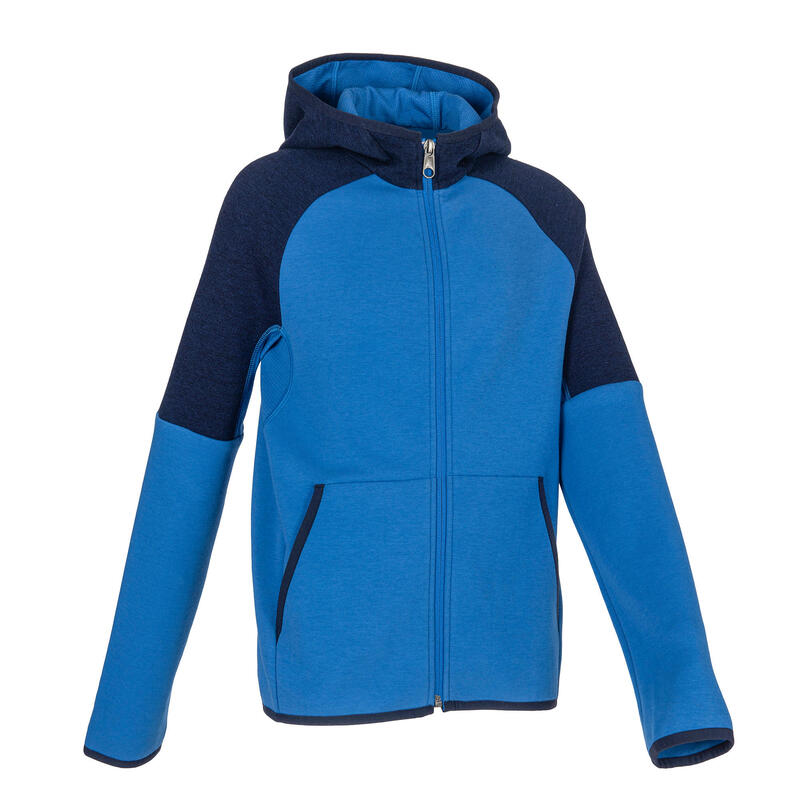 Boys' Gym Warm Breathable Cotton Hooded Jacket 500 - Blue/Navy Blue
