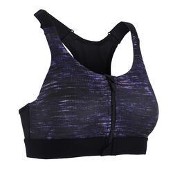 女款有氧健身運動內衣900 - 黑色印花