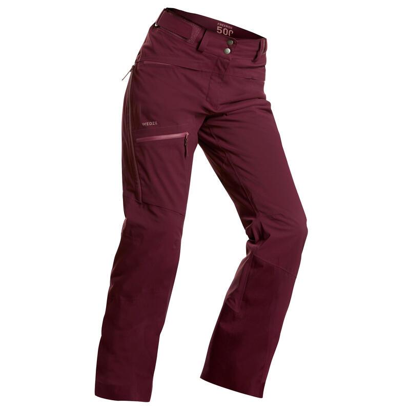 Dámské lyžařské kalhoty na freeride FR500 vínové